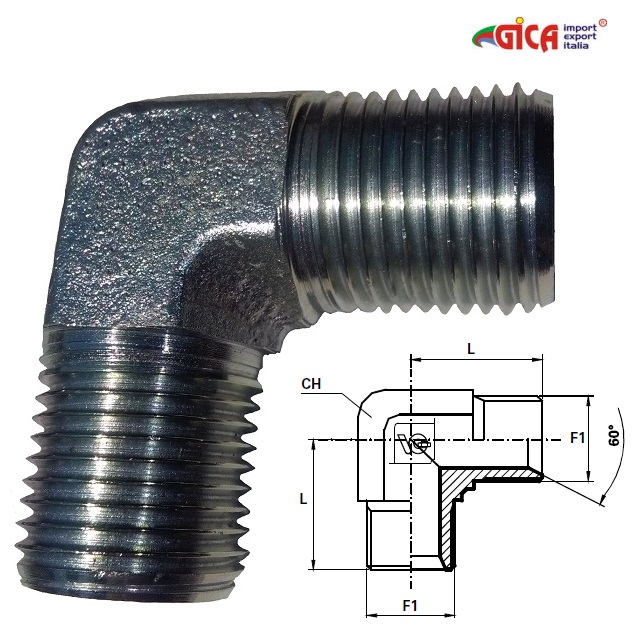 Cot 90° filet GAS BSPP ext.- ext. con 60°
