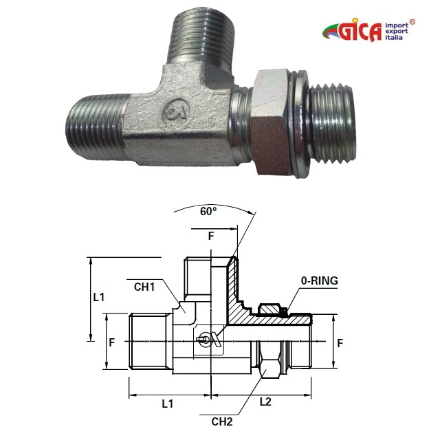 "Racord ""T"" filet GAS BSPP ext. orientabil con 60°"