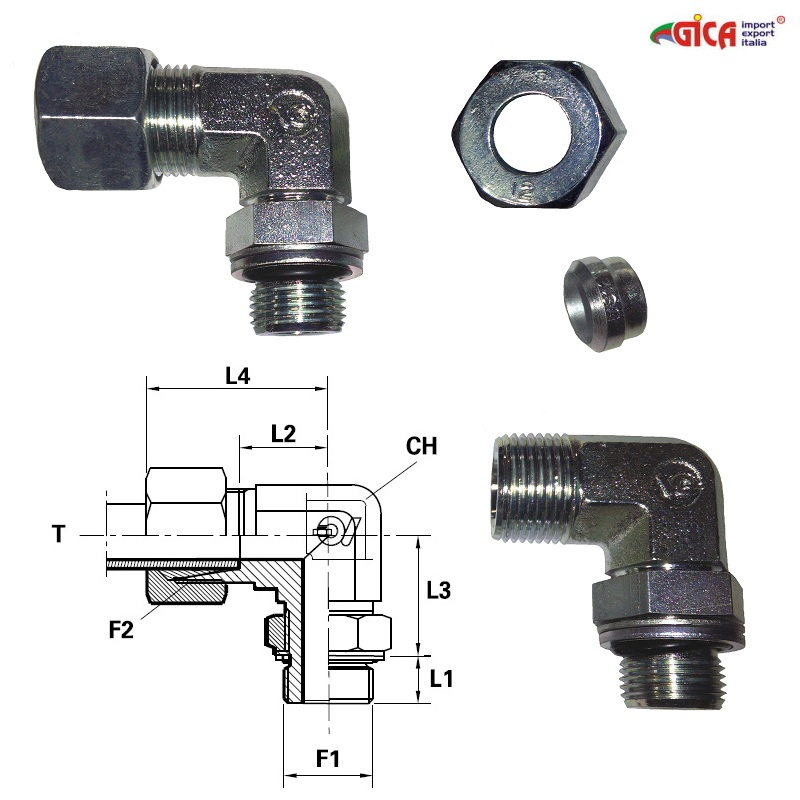 "Racord 90° serie ""S"" pt. tub Ǿ - filet ext. GAS BSPP orientabil"